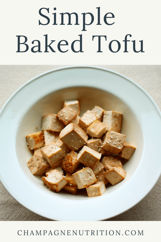 A bowl of beautifully browned, baked tofu
