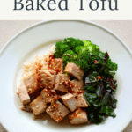 A serving of baked tofu with greens