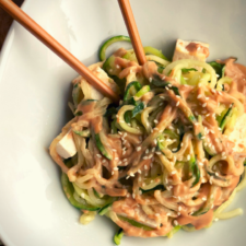Zoodles with Tofu and Peanut Sauce