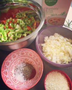 Basque-style vegetables with rice prep