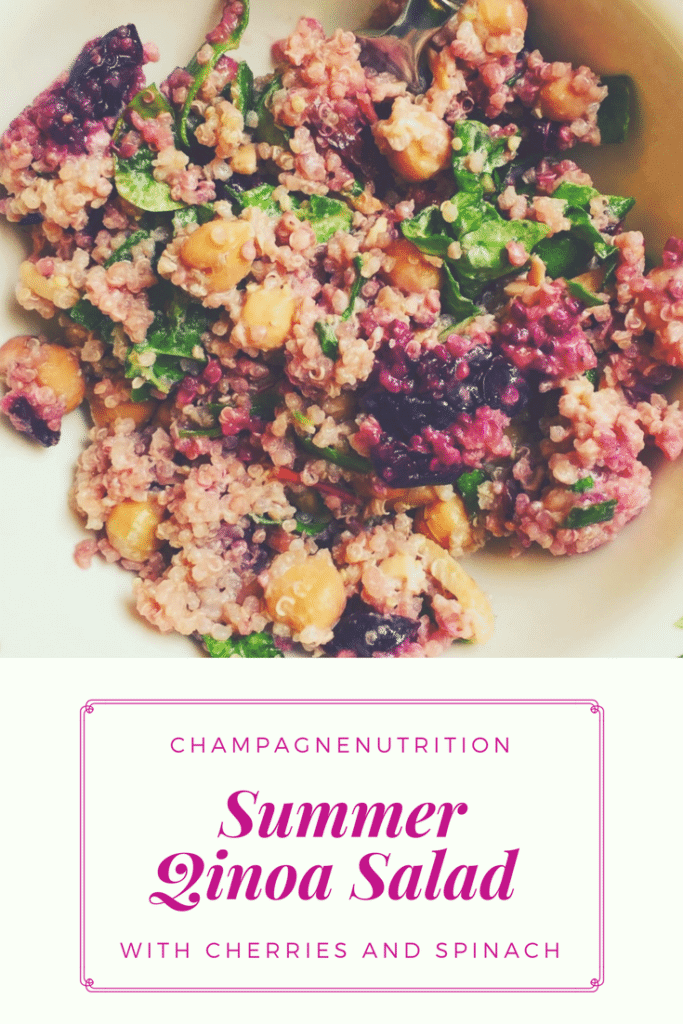 Summer Quinoa Salad with Cherries and Spinach