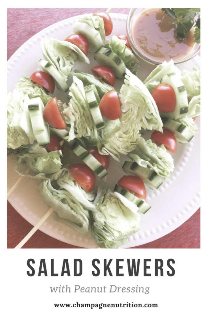 Salad Skewers with Peanut Dressing