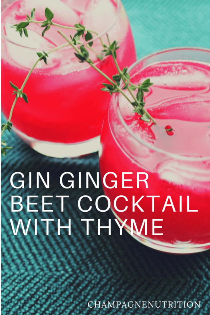 GIN GINGER BEET COCKTAIL WITH THYME