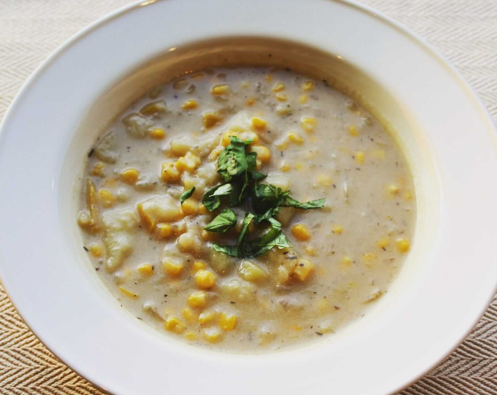Corn Chowder with Potatoes and Basil