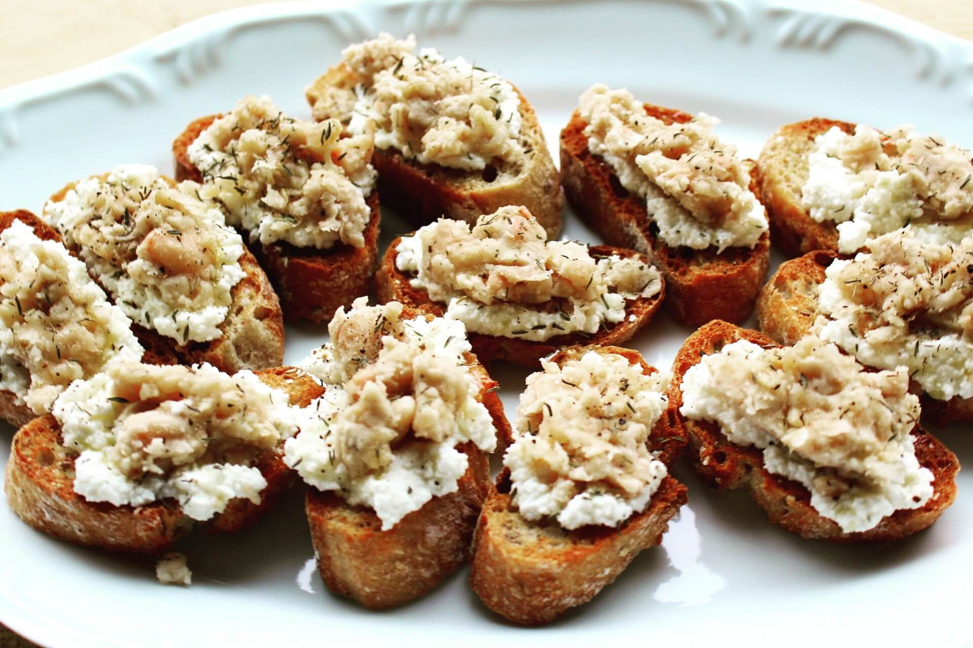 Crostini with Beans, Ricotta, Honey and Thyme