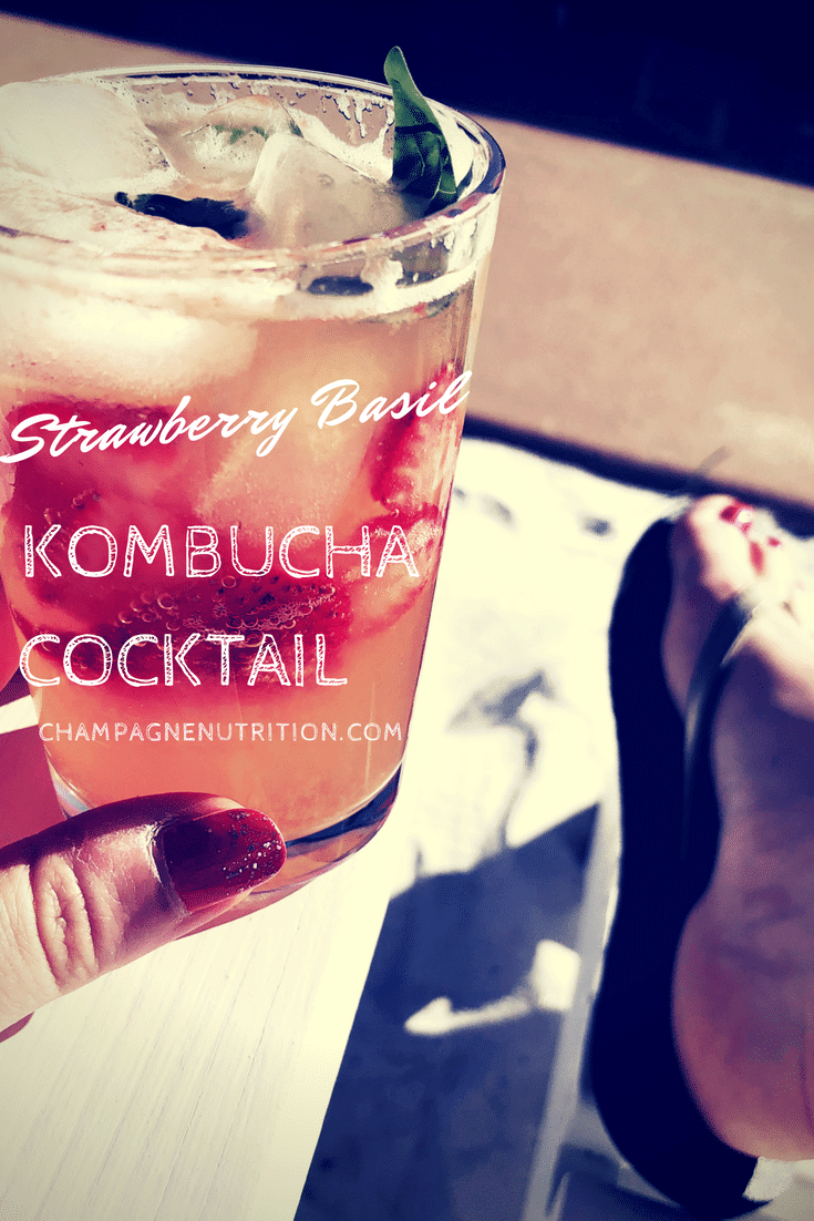 Strawberry Basil Kombucha Cocktail