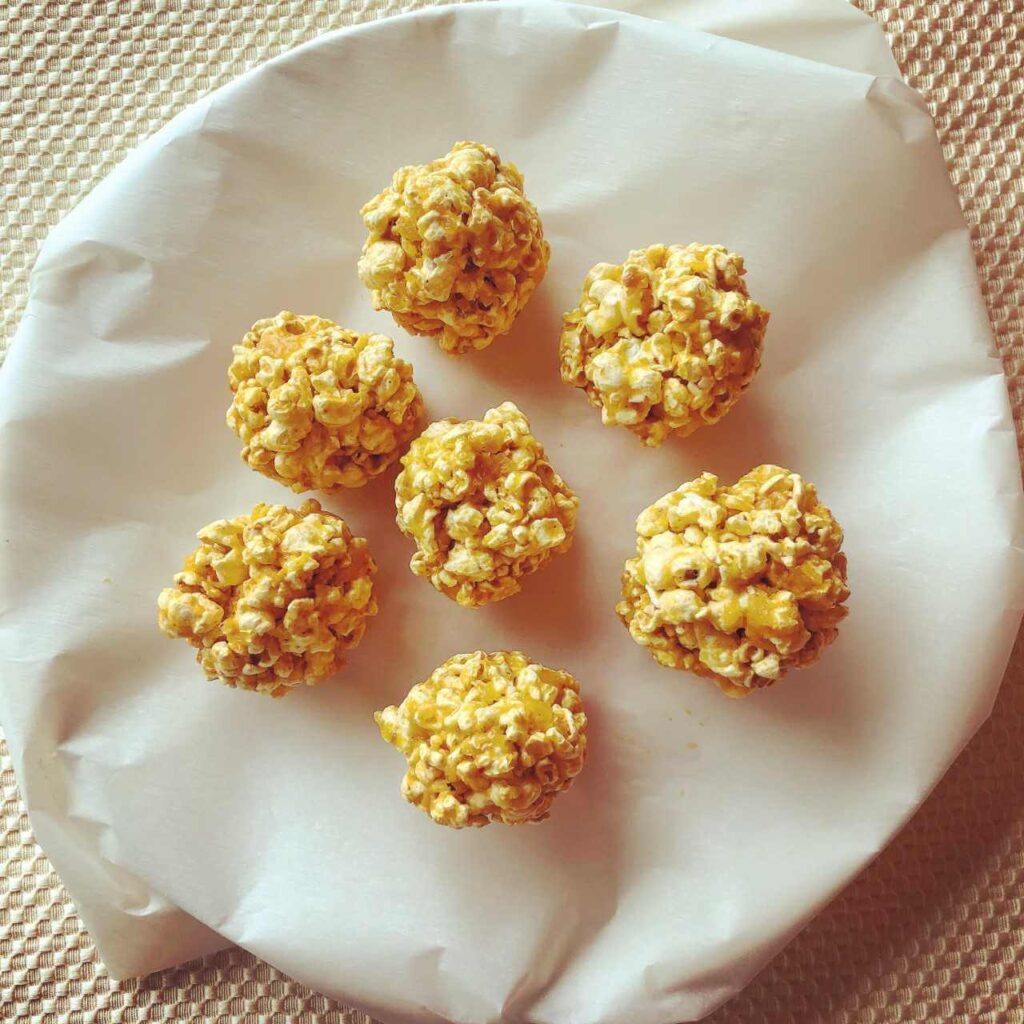 Savory Sweet Curry Popcorn Balls