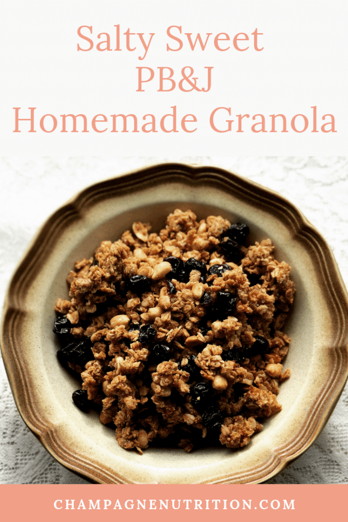 Salty Sweet Peanut Butter and Jelly Homemade Granola