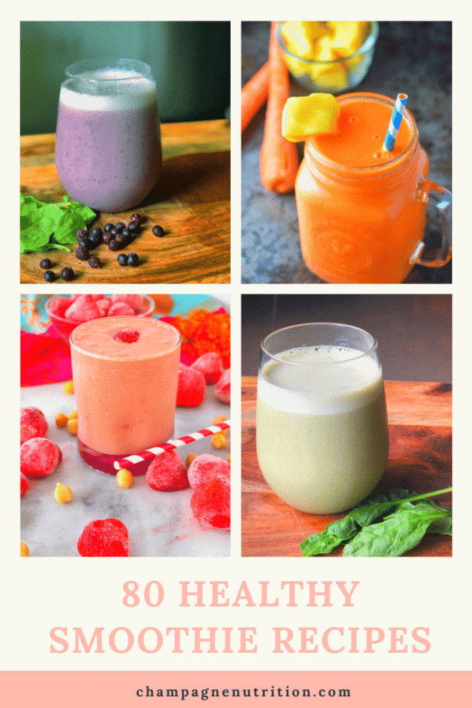 An array of colorful, beautiful smoothies in glasses with lavish garnishes